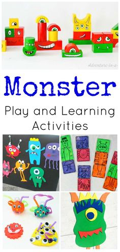 Monster Activities for Preschoolers Perfect for Fall and Halloween! Monster Play and Learning Activities for Preschoolers Monster Activities, Monster Crafts, Kids Learning Activities, Sensory Activities, Educational Activities, Preschool Activities, Sensory Play, Sensory Diet, Halloween School Treats
