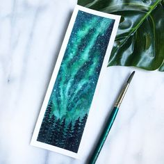Northern light pinetree watercolour bookmark