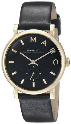 Marc by Marc Jacobs Women's MBM1269 Baker Gold-Tone Stainless Steel Watch with Black Leather Band ** Want to know more about the watch, click on the image.