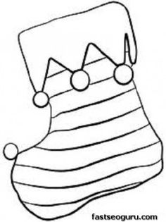 Printable Coloring Pages of Christmas Stocking With Horizontal Lines - Printable Coloring Pages For Kids