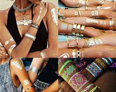 FLASH TATTOO metaliczny złoty srebrny tatuaż BLOG O Flash, Bangles, Bracelets, Boho, Tattoos, Jewelry, Clothes, Fashion, Outfits