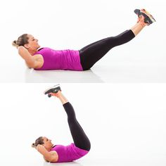 The Bikini Bottom Workout: 7 Lower-Body Blasters.  Lie faceup with hands behind head, legs extended straight above hips, toes turned out (heels should touch). Lift head and look towards legs. Brace abs in tight and lower legs toward the floor at a 45-degree angle (avoid arching lower back). With control, return legs to start position, tilt pelvis up, and lift hips off the floor. Do 20 reps.