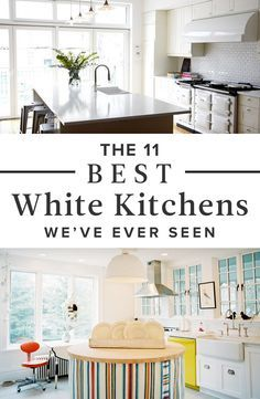 The 11 Best White Kitchens in Lonny: When it comes to all-white kitchens, our beloved Pinterest followers are like moths to a flame. Could it be the clean, happy feeling of being surrounded by a cloud of snowy cabinets and countertops? Is it possible that something so simple could be the be-all and end-all of aspirational home design?
