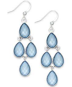 Style & Co. Silver-Tone Ice Blue Teardrop Chandelier Earrings