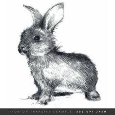 Instant Download. Happy Bunny. Rabbit Iron by DigitalArtDownloads, $4.95