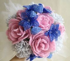 Something Blue Bridal French Beaded Flower Bouquet.