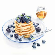 Pancakes with berries and honey on the plate, watercolor