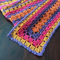 Crochet Scarfs Ravelry: Modern Granny Winter Scarf pattern by Jeanne Steinhilber - Crochet Poncho Patterns, Granny Square Crochet Pattern, Crochet Granny, Crochet Scarves, Crochet Motif, Crochet Shawl, Crochet Stitches, Scarf Patterns, Free Crochet