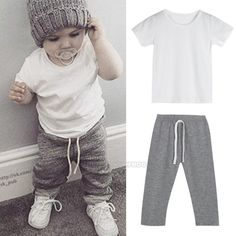 8.02AUD - Summer 2Pcs Baby Kids Boys Short Sleeve Suit T-Shirt Tops+ Pants Outfits Clothes #ebay #Home & Garden