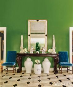 Obsessed with the vibrant green foyer by Miles Redd!