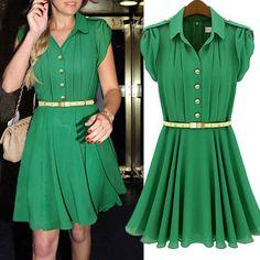 2012 Summer New Womens Sleeveless Pleated Chiffon Vest Dress Skirt   eBay