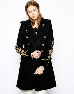 Manteau officier femme long