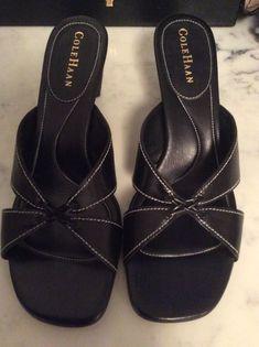 51b8c168c4b6 Cole Haan Women s Sandals Size 8 B Black Leather Block Heel Mule Slip On  Shoes