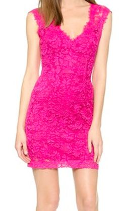 Raspberry pink lace dress. A little longer and it would be perfect for me!