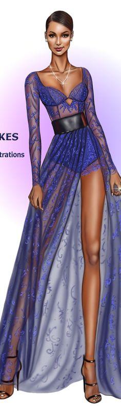 Jasmine Tookes wearing Lethicia Bronstein blue lace dress at the #mtvmovieAwards #digitaldrawing by David Mandeiro Illustrations Wacom