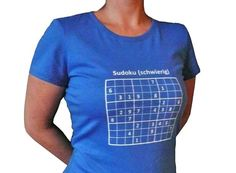 Oberteile - Sudoku, Bio T-Shirt Frauen, blau - ein Designerstück von cherry_bomb bei DaWanda