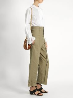 Topstitched wide-leg cotton trousers