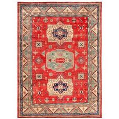 Afghan Hand-knotted Kazak Red/ Beige Wool Rug (8'10 x 11'11) | Overstock.com Shopping - The Best Deals on 7x9 - 10x14 Rugs