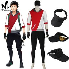 Pokemon Go cosplay costume Halloween costumes for adult men game Pokemon GO men Trainer suit with hat red hoodie shirt #Affiliate