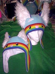 My rainbow fleece hats