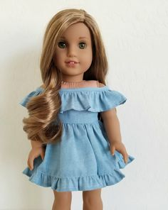 Blue Chambray Off Shoulder Dress for American Girl by BuzzinBea