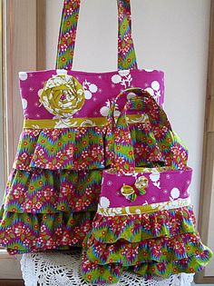 Mother and Child Boutique Ruffle Tote Purse by Antiquebasketlady, $67.00 #teamsellit