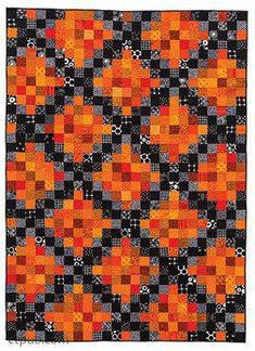 = free pattern = Spice quilt from Festive Fall Quilts by Kim Schaefer - C&T Publishing Mug rug? Halloween Quilt Patterns, Halloween Quilts, Halloween Sewing, Fall Sewing, Halloween Pillows, Halloween Fabric, Fall Quilts, Scrappy Quilts, Denim Quilts