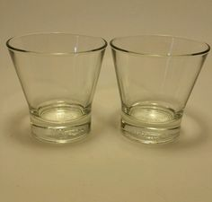 "2 Vintage Crown Royal Glasses Crown on Pillow Italy 3 1/2"" Tall. in Collectibles, Advertising, Food & Beverage 
