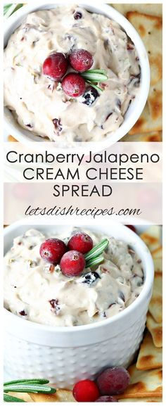 Jalapeno Cream Cheese Spread Recipe: This unique spread features cranberry, jalapeno, green onion and orange juice in a cream cheese base. It's the perfect combination of sweet and spicy, and perfect for any holiday celebration. Thanksgiving Appetizers, Holiday Appetizers, Appetizers For Party, Party Snacks, Thanksgiving Recipes, Holiday Foods, Healthy Christmas Recipes, Cheese Appetizers, Party Desserts