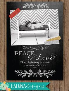 Christmas Card Chalkboard Photo Christmas Card Peace Love Holiday Card Diy