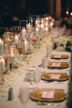 Valentine's wedding - pink and gold wedding - head table - candle - gold chargers