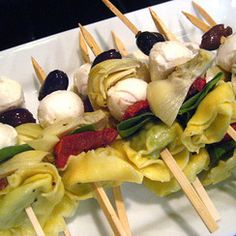 Tortellini skewers can be served cold or at room temp