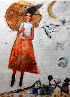 she comes from an other world by paintstories on Etsy