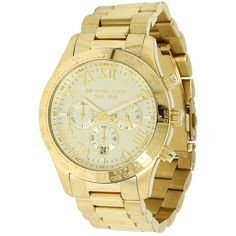 Michael Kors MK8214 - Layton Chronograph (Gold) Chronograph Watches (625 BRL) ❤ liked on Polyvore featuring men's fashion, men's jewelry, men's watches, jewelry, mens analog watches, mens gold chronograph watches, mens diamond bezel watches, michael kors mens watches and mens chronograph watches