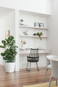 white modern #farmhouse work space | tongue + groove wall