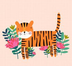 "Amy Williamson on Instagram: ""Been playing around with Mr Tiger! + + + + #illustrate #illustration #drawing #notebooks #surfacespattern #drawings #Etsyfinds…"" Tiger Art, Jungle Animals, Drawing S, Amy, Exotic, Tropical, Notebooks, Illustration, Pattern"