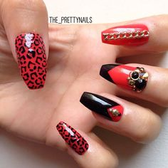 Red and black stiletto nails Hot Nails, Swag Nails, Hair And Nails, Royal Nails, Pointy Nails, Leopard Nails, Best Acrylic Nails, Manicure E Pedicure, Types Of Nails