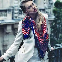 """knotjustascarf: """" In love with this @irene_france #silkscarf #fashion #style. Draping a coloured scarf casually around your neck is great with the current #whiteout trend. """" #Fashion #style #scarf #scarves #wearscarfwithstyle #editorial #whiteout..."""
