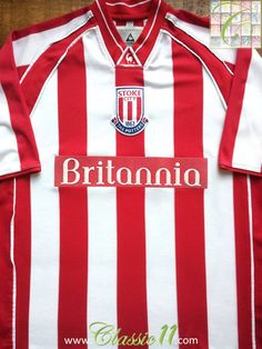 Relive Stoke City's season with this vintage Le Coq Sportif home football shirt. Stoke City Fc, Brentford, Vintage Football Shirts, Cardiff City, Red And White Stripes, Colorful Shirts, How To Memorize Things, Store, Classic