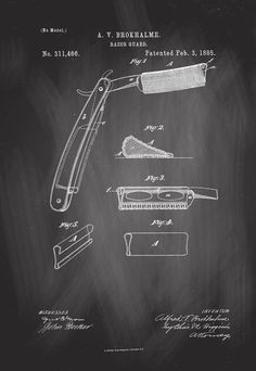1885 Barber Razor Chalk Board Patent Artwork Poster 1885 Barber Razor Guard Antique Patent Artwork Print Canvas Home Office Decor Great for Barber Salon black Barber Poster, Artwork Prints, Poster Prints, Barber Shop Decor, Barber Razor, Blueprint Art, Canvas Home, Patent Prints, Beauty Shop