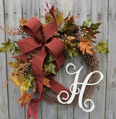 Items similar to Fall Wreath - Fall / Monogram Wreath - Fall Wreath Guilded Monogram Wreath - Thanksgiving Autumn Fall Decor on Etsy