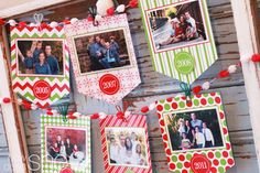 Past Christmas card photos as decorations