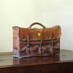 Vintage Leather Luggage // Cart It by 86home on Etsy, $475.00