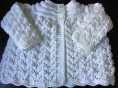 Hand Knitted Babies White  Matinee Cardigan will fit 0-3 mths £8.50