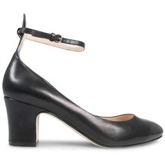 This is the perfect little heel for the girl on the go. A 5cm* block heel and round toe give feminine charm to an elegant ankle strapped silhouette, crafted from the softest black nappa leather.  Leather Upper Leather Lining Padded Footbed Spanish Re