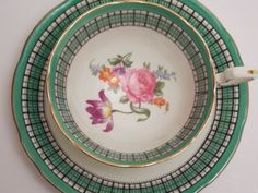 Aynsley Fine Bone China Tea Cup and Saucer Green Black White Plaid Purple Blue Pink Orange Floral Center Gold Trim