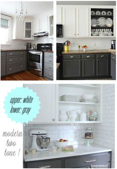 White upper cabinets, grey lower cabinets