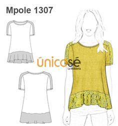POLERA EVASE APLICACION DE ENCAJE Couture, Sewing Clothes, I Dress, Sewing Patterns, Bohemian, Tunic Tops, Denim, My Style, Sweaters