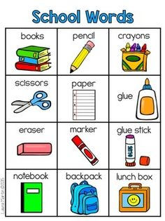 Back to School Vocabulary Kindergarten Vocabulary, Kindergarten Classroom Decor, Vocabulary Activities, Preschool Worksheets, Daycare Curriculum, Learning English For Kids, English Lessons For Kids, Teaching English, French Lessons
