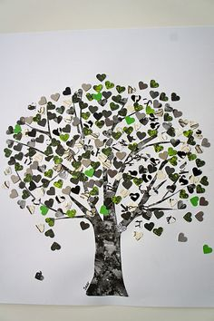 Tree of hearts made from paper scraps.  I bet this would be lovely to do as a seasons project.